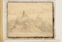 Temple with steps leading down to the river at the junction of the Ganges and Jumnna (U.P.). 18 July 1822
